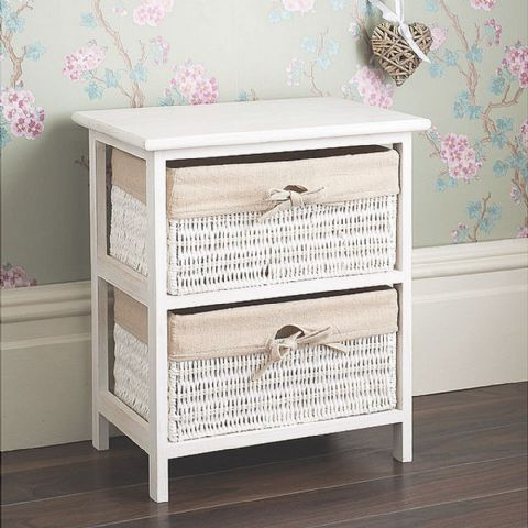 White 2 Wicker Basket Bedside Table Drawers